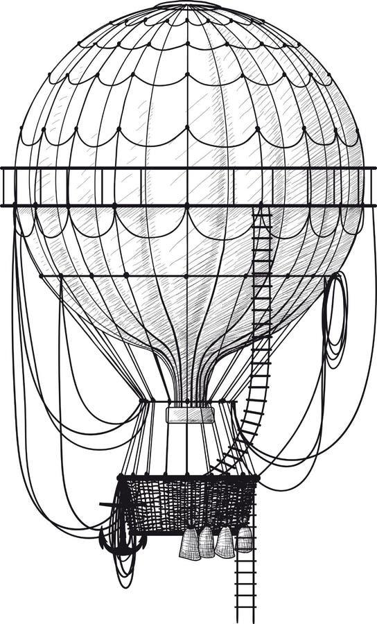 Gammal luftballong vektor illustrationer