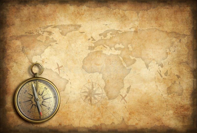 Gammal mässing eller guld- kompass med världskartabakgrund royaltyfri illustrationer