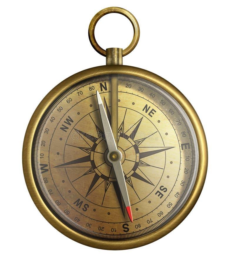 Gammal mässingskompass, isolerad realistisk illustration stock illustrationer