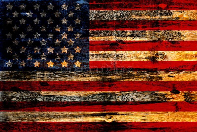 Gammal målad amerikanska flaggan arkivfoton