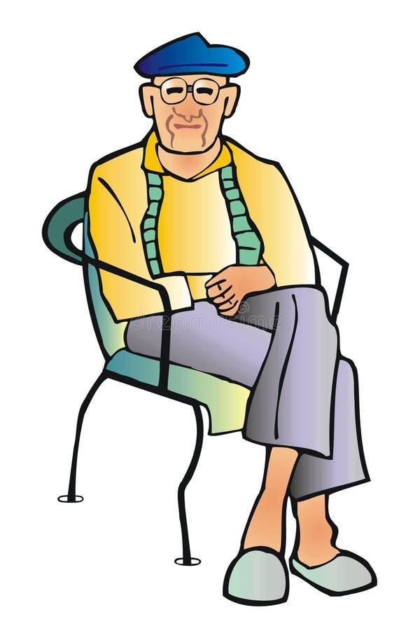 gammal man stock illustrationer