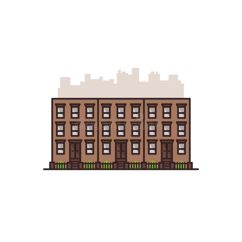 Gammal Manhattan New York City för rödbrun sandsten byggnad Vektor isolerad illustration på den vita bakgrunden royaltyfria bilder