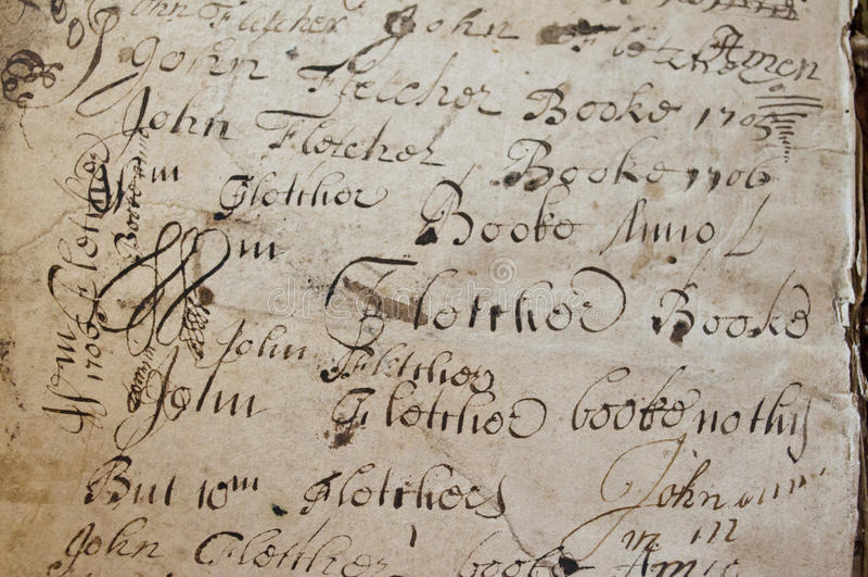 Gammal manuskripthandstil royaltyfri fotografi
