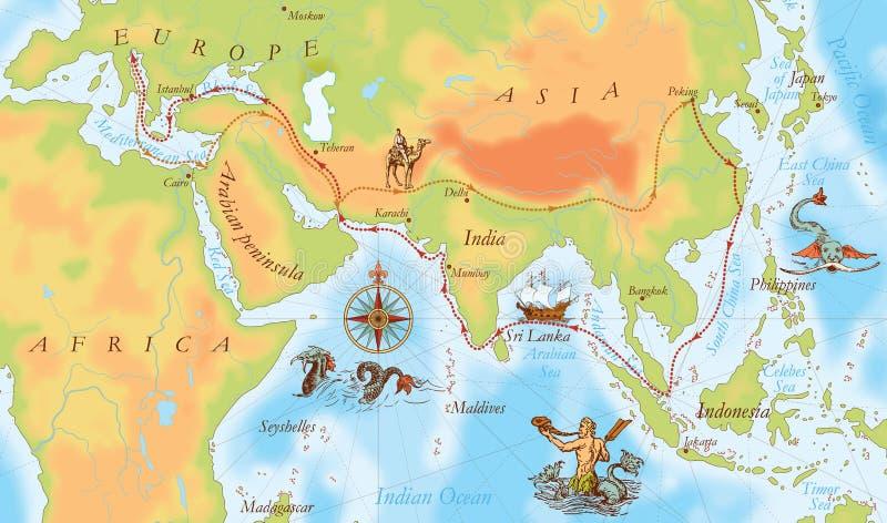 Gammal marinöversikt Marco Polo väg royaltyfri illustrationer