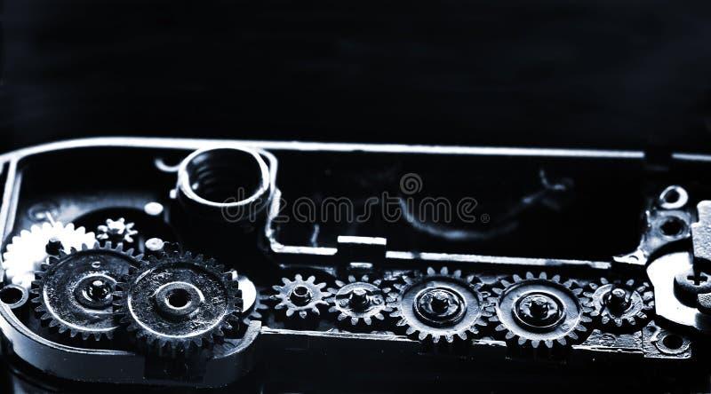 Gammal mekanism med en växellåda som är smörjt av fett royaltyfri fotografi