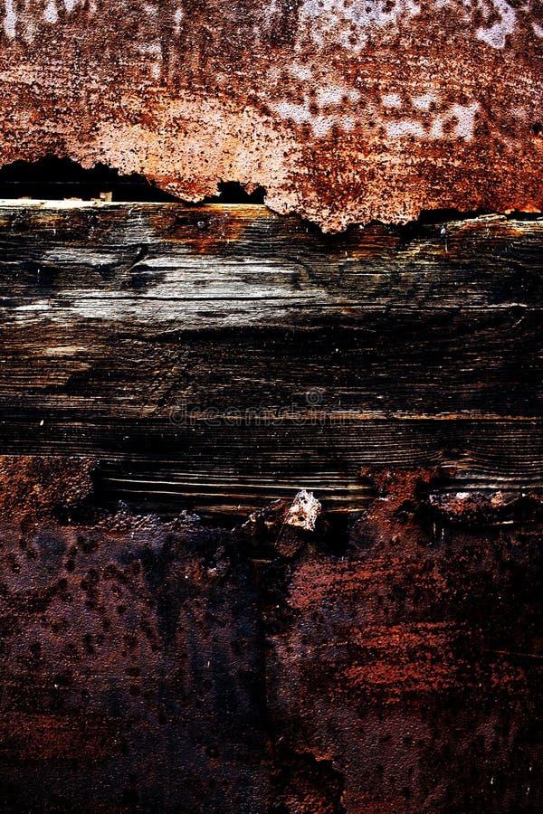 Gammal metall- och träbakgrund royaltyfri fotografi
