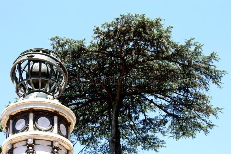Gammal meteorologisk indikator i botaniska trädgården av den autonoma staden av Buenos Aires arkivfoto