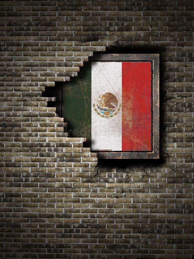 Gammal Mexico flagga i tegelstenvägg vektor illustrationer