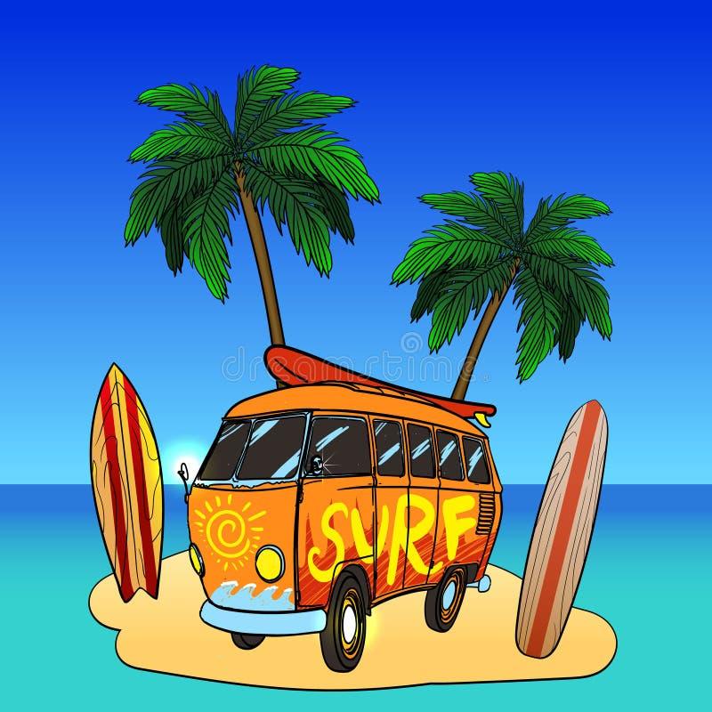 Gammal modebuss med palmträd Retro bränningbuss, bränningsymboler royaltyfri illustrationer