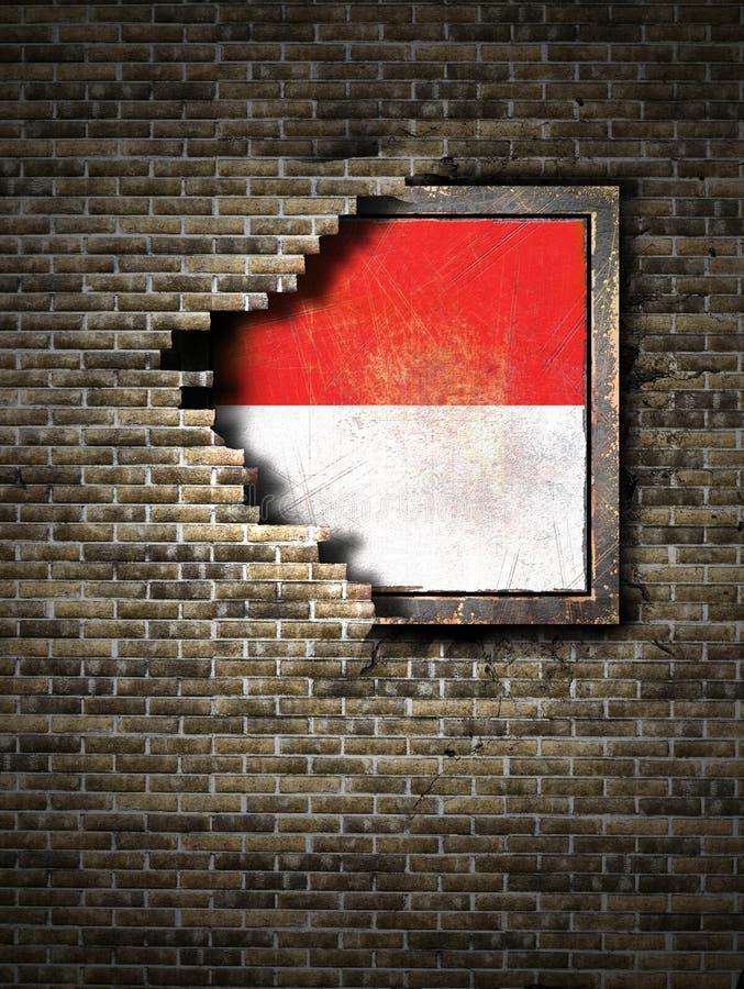 Gammal Monaco flagga i tegelstenvägg vektor illustrationer