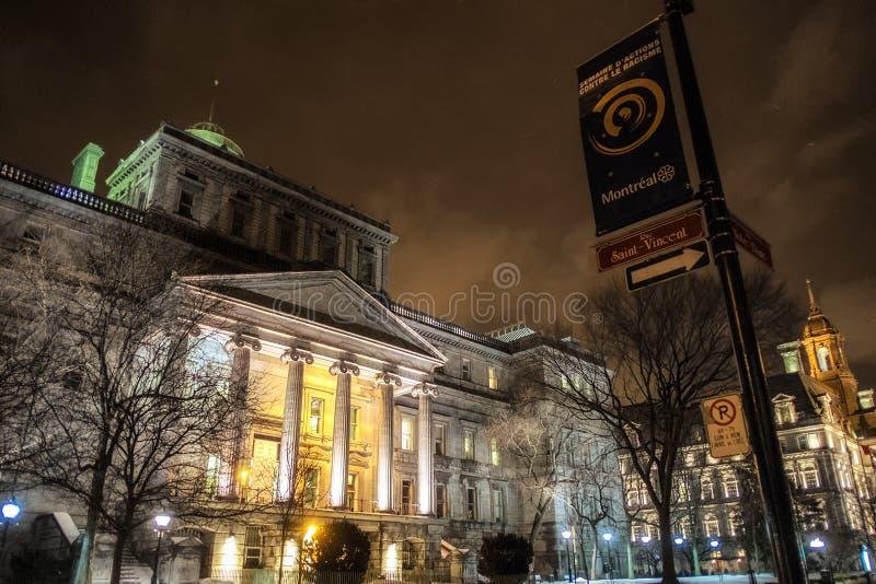 Gammal Montreal nattplats royaltyfria bilder