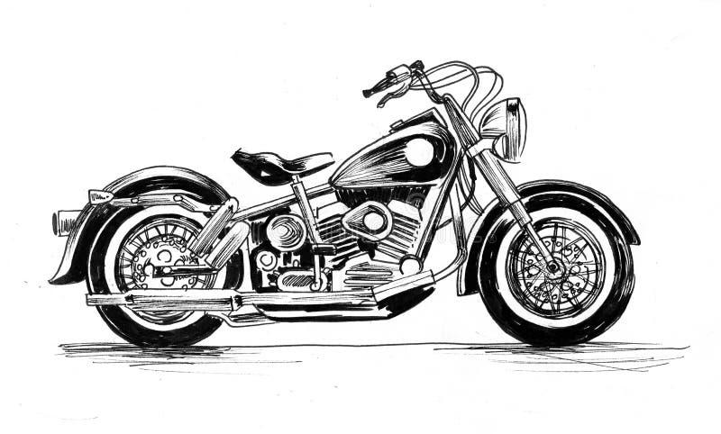 gammal motorcykel stock illustrationer