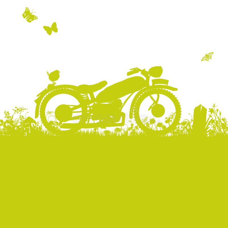 Gammal motorcykel i gräset stock illustrationer