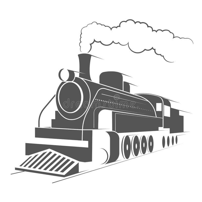 Gammal motormonokromillustration stock illustrationer