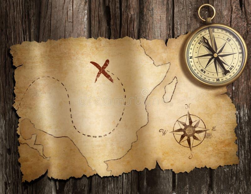 Gammal nautisk kompass på den wood tabellen med skattöversikten royaltyfri illustrationer