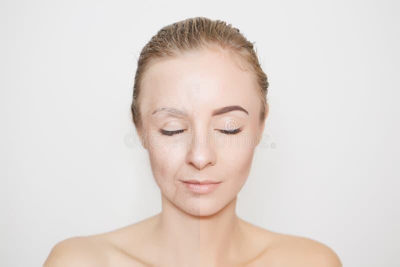 Gammal och ung kvinna med stängda ögon arkivfoton