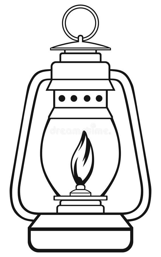Gammal olje- lampa royaltyfri illustrationer