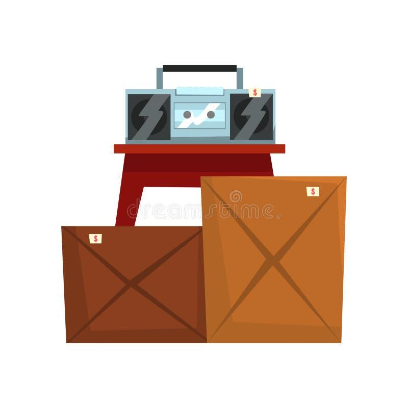 Gammal onödig saker, kartonger med gammalt material, retro boombox, försäljning hemifrånvektorillustration på en vit stock illustrationer