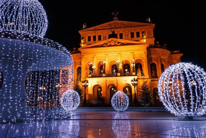 Gammal opera för Alte operation, en konserthall i Frankfurt - f.m. - strömförsörjning royaltyfria bilder