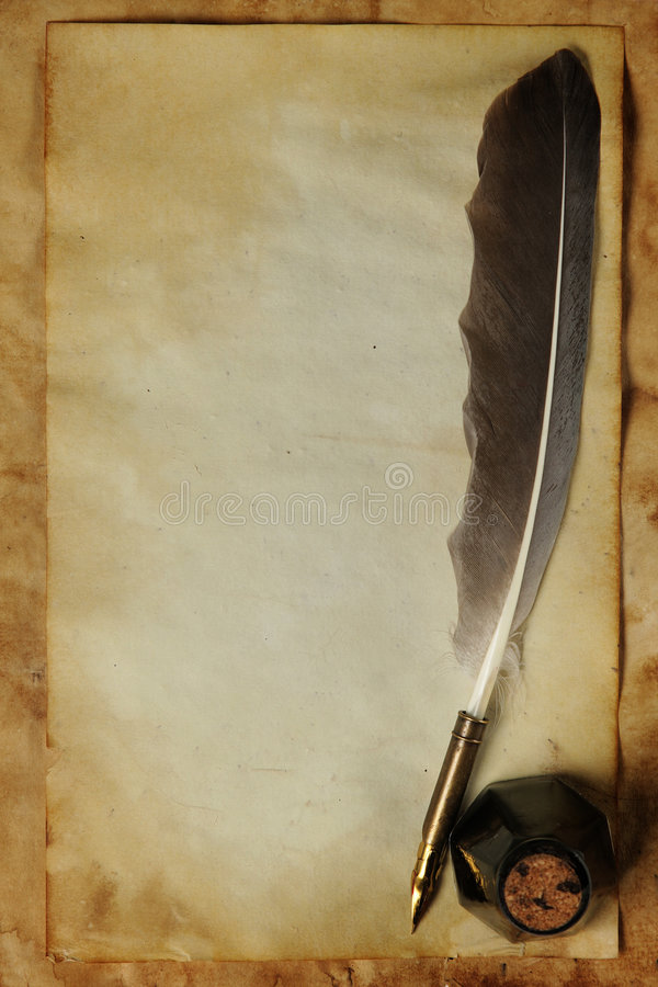 gammal paper quill för färgpulver arkivbilder
