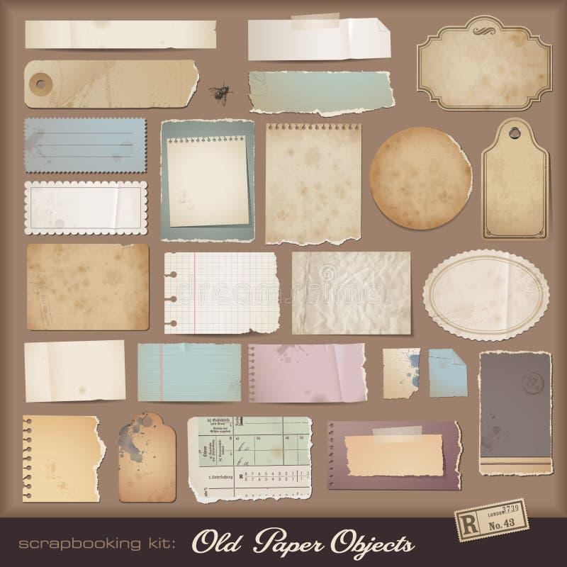 gammal paper scrapbooking för digital sats stock illustrationer