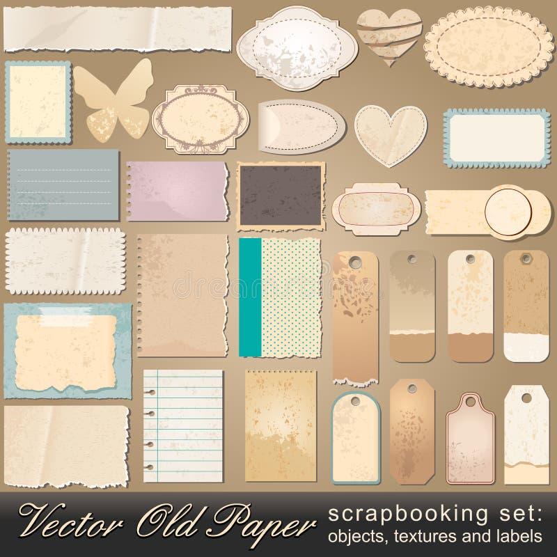 gammal paper scrapbooking set för objekt vektor illustrationer