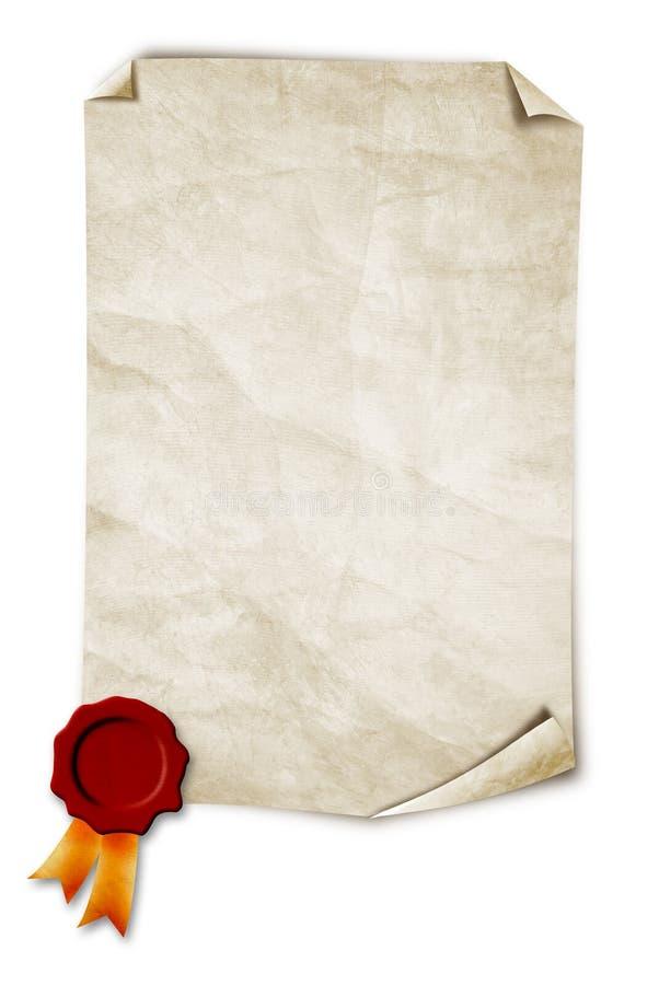 gammal paper skyddsremsawax royaltyfri bild