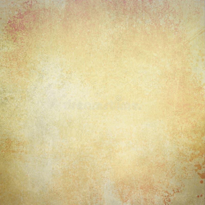 Gammal pappers- bakgrund i urblekt metallbruntguld och vit färgar med tappningtextur royaltyfri foto