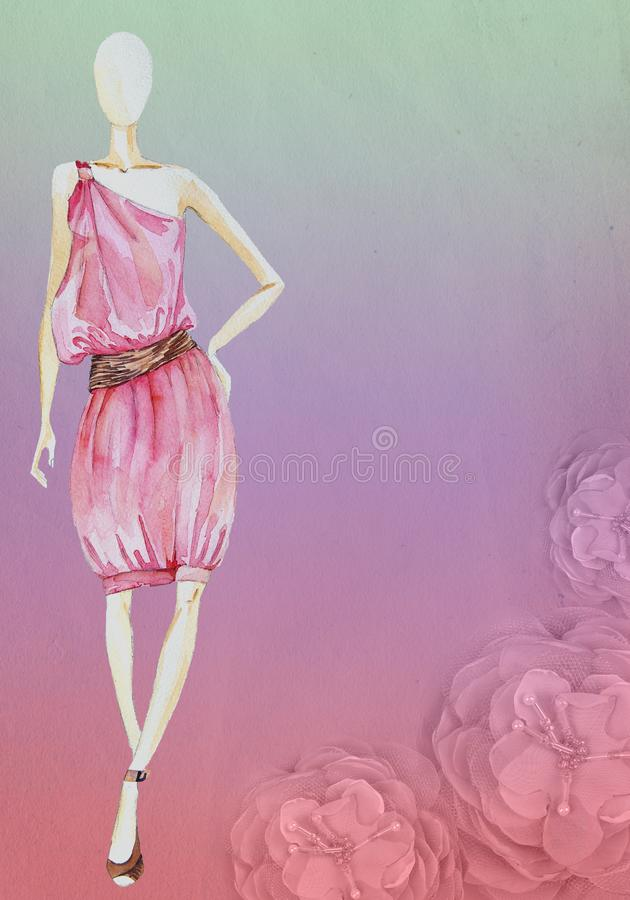 Gammal pappers- bakgrund med blomman och att skissa modellen royaltyfria foton