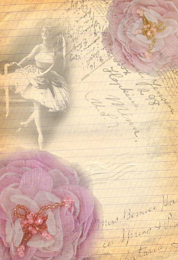 Gammal pappers- bakgrund med blomman och att skissa modellen arkivbild