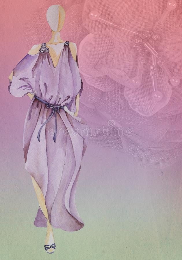 Gammal pappers- bakgrund med blomman och att skissa modellen royaltyfri bild