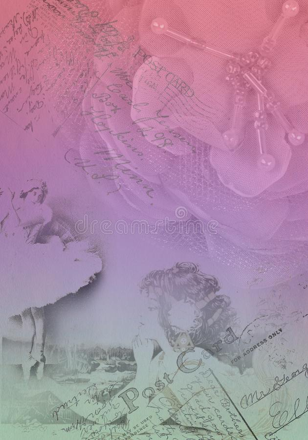 Gammal pappers- bakgrund med blomman och att skissa modellen royaltyfria bilder