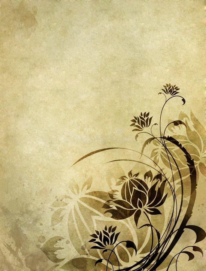 Gammal pappers- bakgrund med den blom- modellen vektor illustrationer