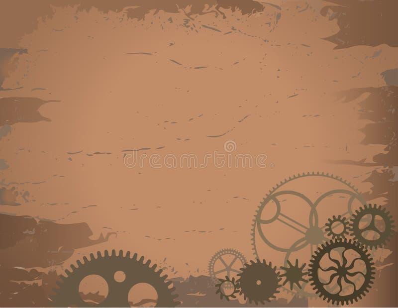 Gammal pappers- bakgrund med kugghjul royaltyfri foto