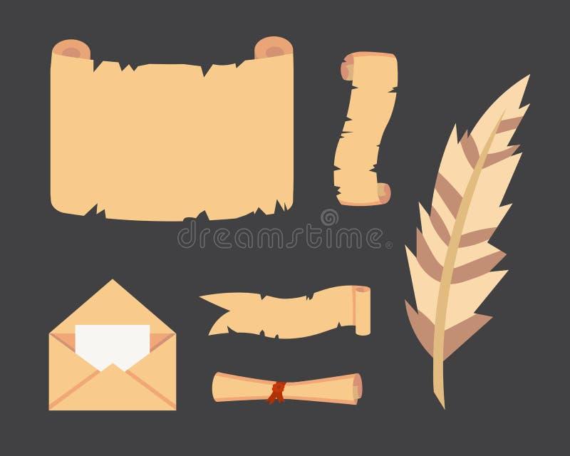 Gammal pappers- snirkelvektoruppsättning Retro dokumentskrift med copyspace Tom tappning och bokstavsillustrationer stock illustrationer