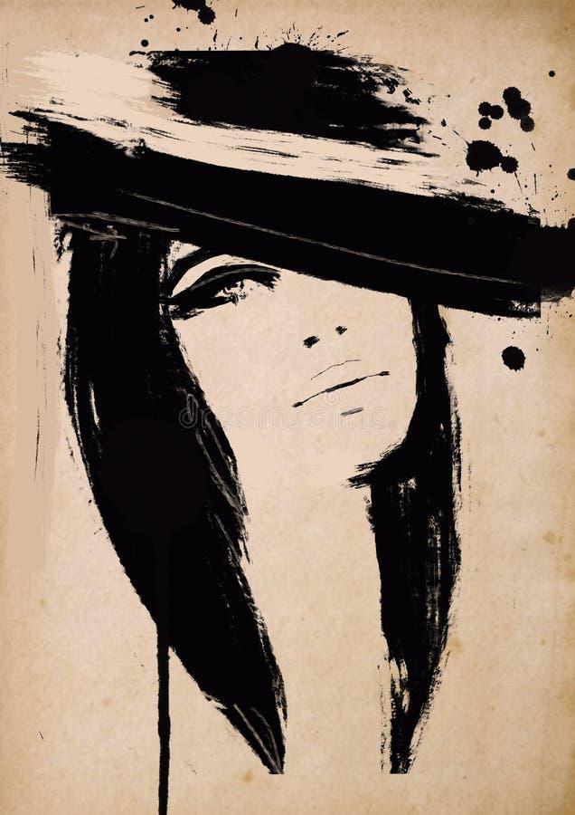 Gammal pappers- tappningmodeillustration i svartvitt tryck royaltyfri illustrationer