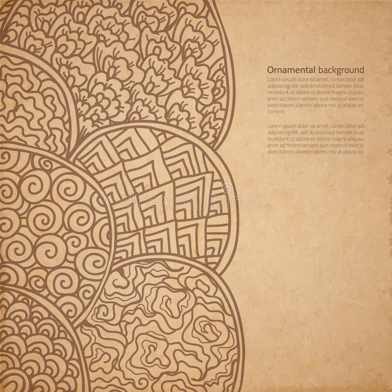 Gammal pappers- textur för tappning med traditionell orientalisk ornam för vektor vektor illustrationer