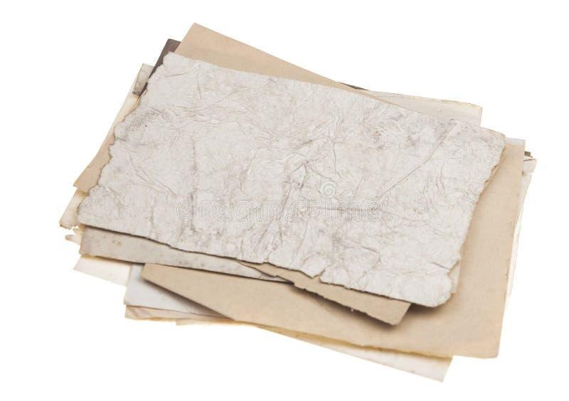 Gammal pappers- textur för tappning som isoleras på vit bakgrund arkivfoto