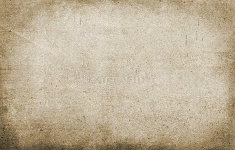 Gammal pappers- textur, grungebakgrund som är retro, tappning, brunt, tomt som är grov, fläckar, strimmor royaltyfri illustrationer