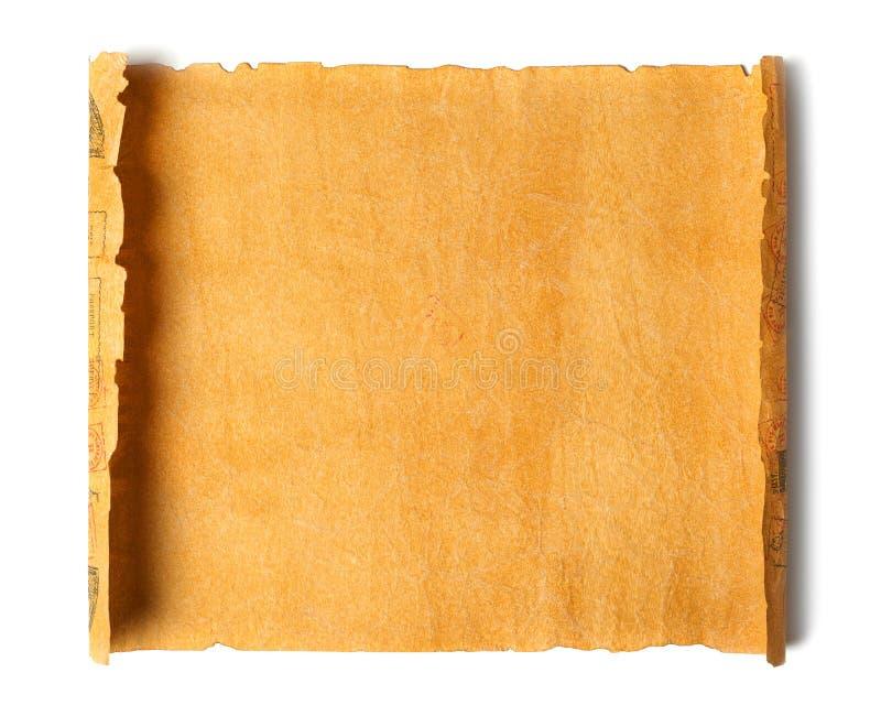 Gammal papyrus på vit arkivbild