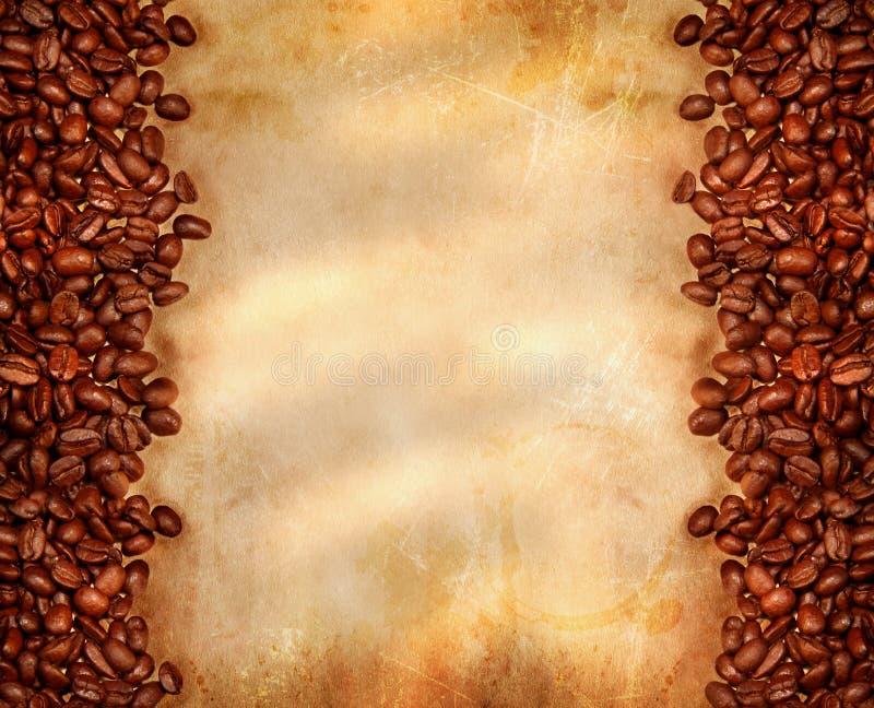 gammal parchment för bönakaffe arkivbild