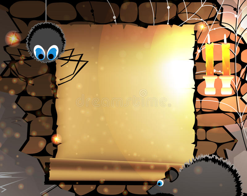 Gammal parchment i en mörk dungeon stock illustrationer