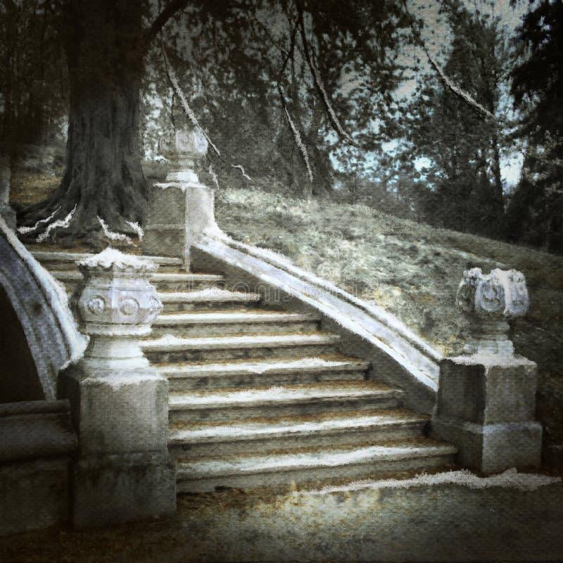 gammal parktrappa royaltyfri illustrationer