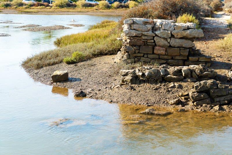 Gammal pelare i lagun av riaen formosa på lågvatten arkivfoton