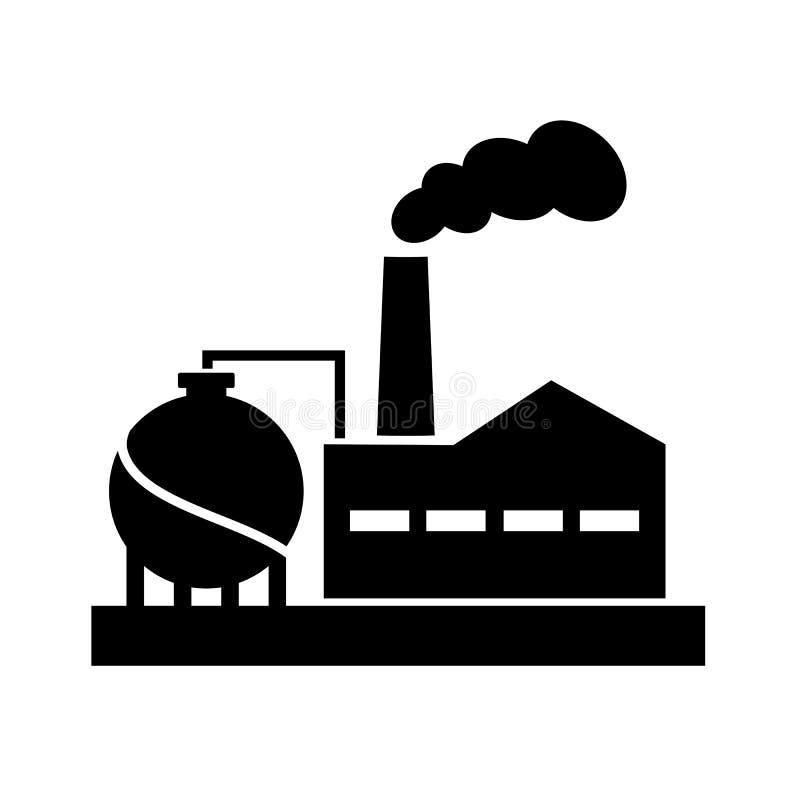 Gammal pictogram för fabriksvektorkontur royaltyfri illustrationer