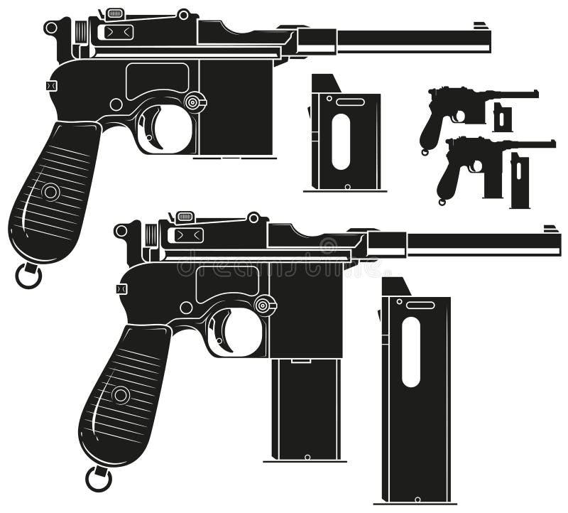 Gammal pistol för grafisk kontur med ammogemet royaltyfri illustrationer