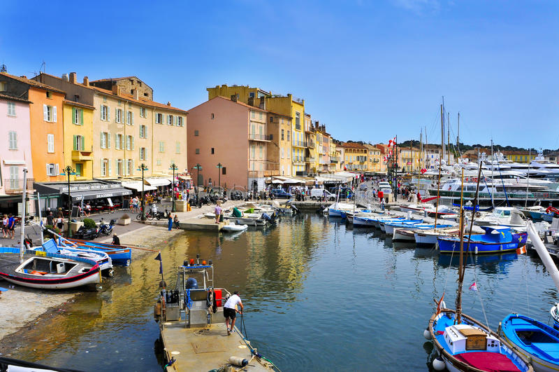 Gammal port av Saint Tropez, Frankrike arkivbilder