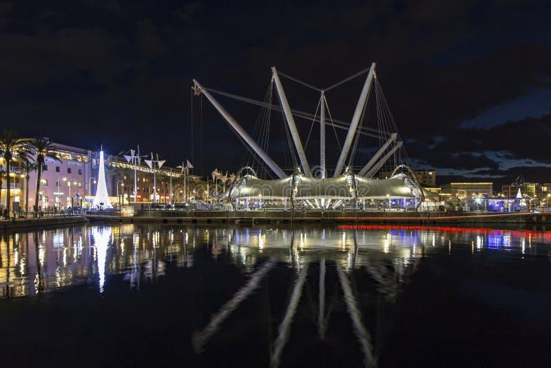 Download Gammal port Genoa Night arkivfoto. Bild av hamn, europa - 106838288