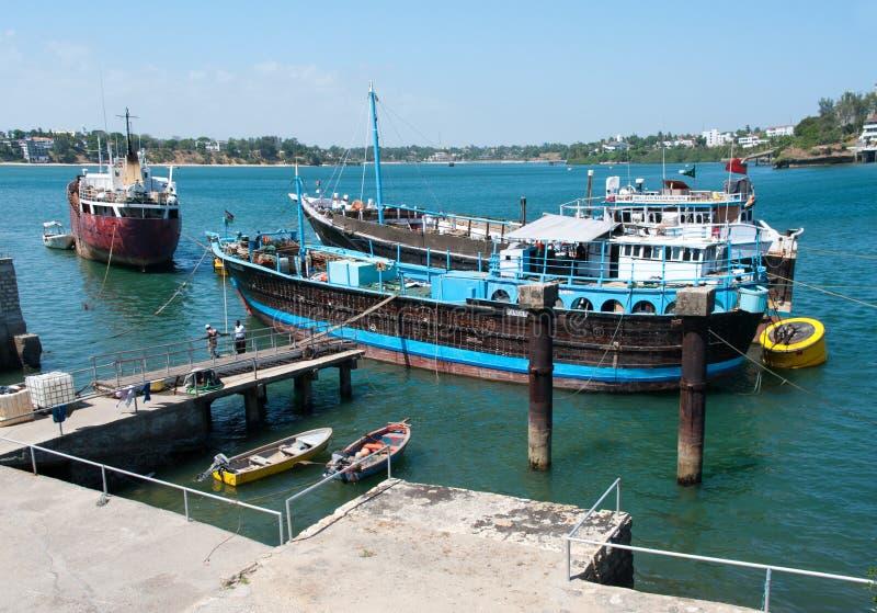 Gammal port i Mombasa royaltyfri foto