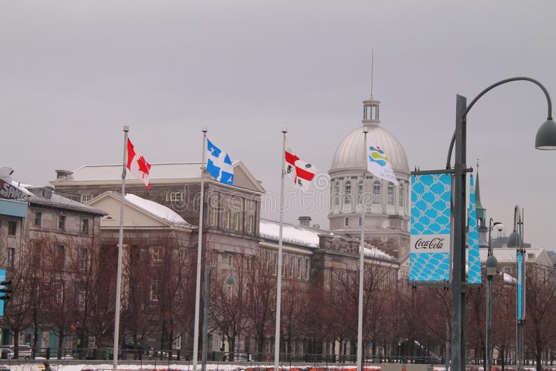 Gammal port Montreal Kanada för Bonesecours marknadsmarché fotografering för bildbyråer